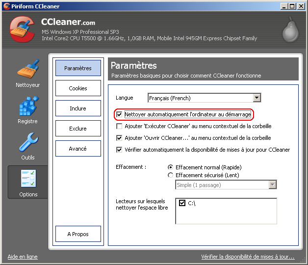 Lancement automatique de CCleaner