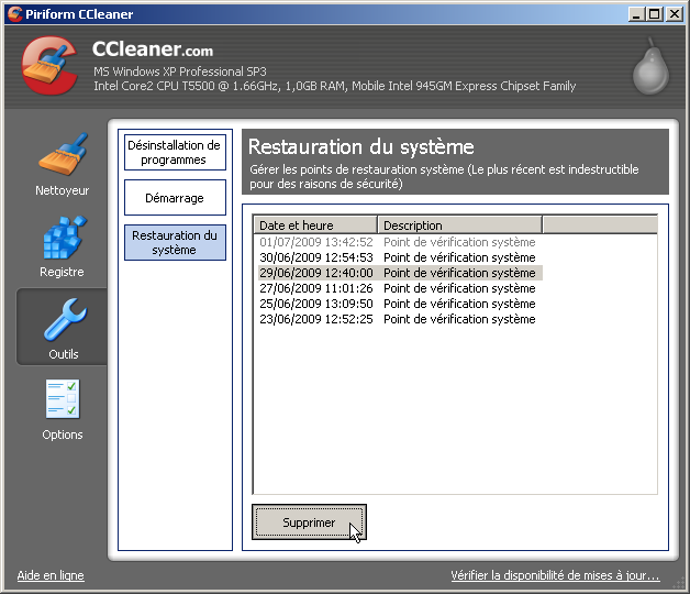Supprimer un point de restauration Windows avec CCleaner